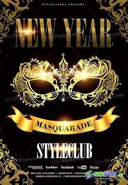New Year Masquarade V79 2018 PSD Flyer Template