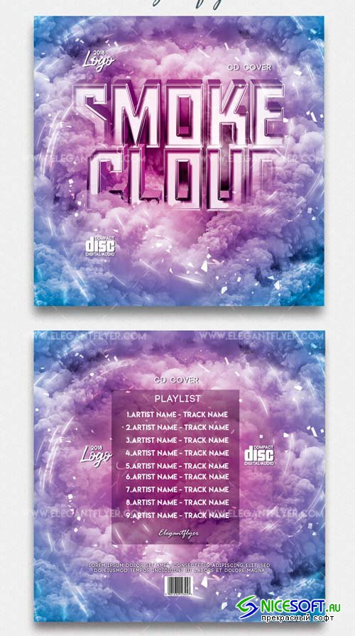 Smoke Cloud V4 2018 Premium CD Cover PSD Template