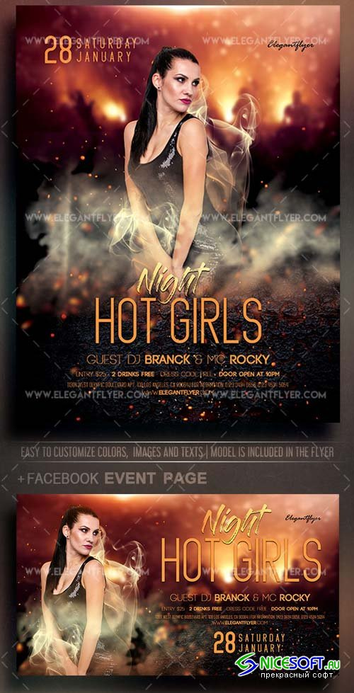 Hot Girls Night V44 2018 Flyer PSD Template