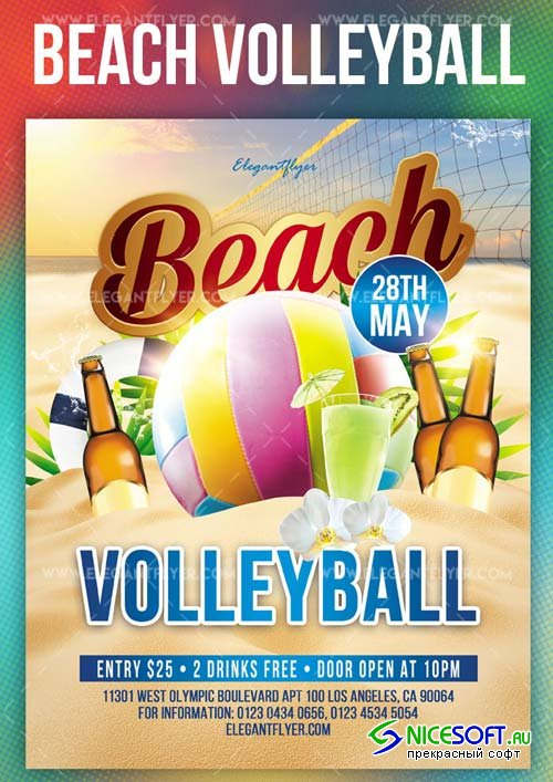 Beach Volleyball V23 2018 Flyer PSD Template + Instagram template