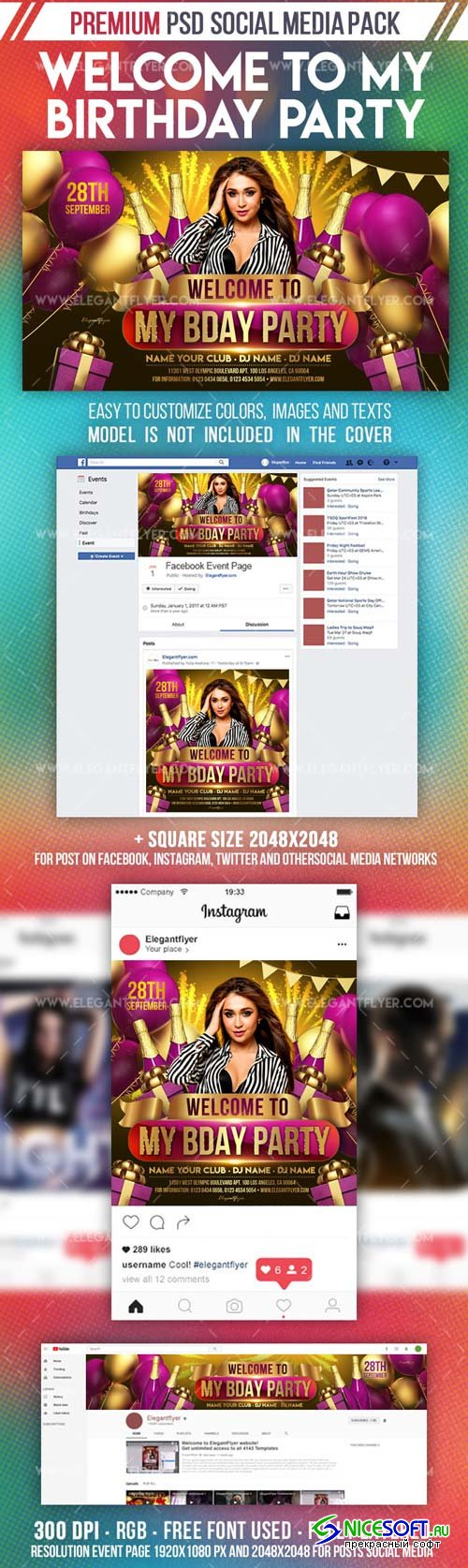 Welcome to My Birthday Party V1 2019 Facebook Event + Instagram Template + YouTube Channel Banner
