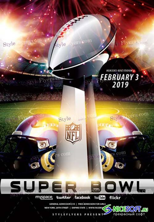 Super Bowl V2 2019 PSD Flyer Template
