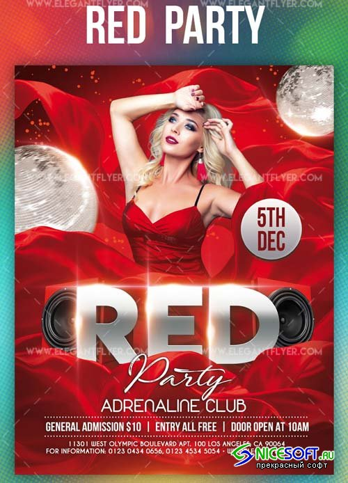 Red Party V1 2019 Flyer PSD Template