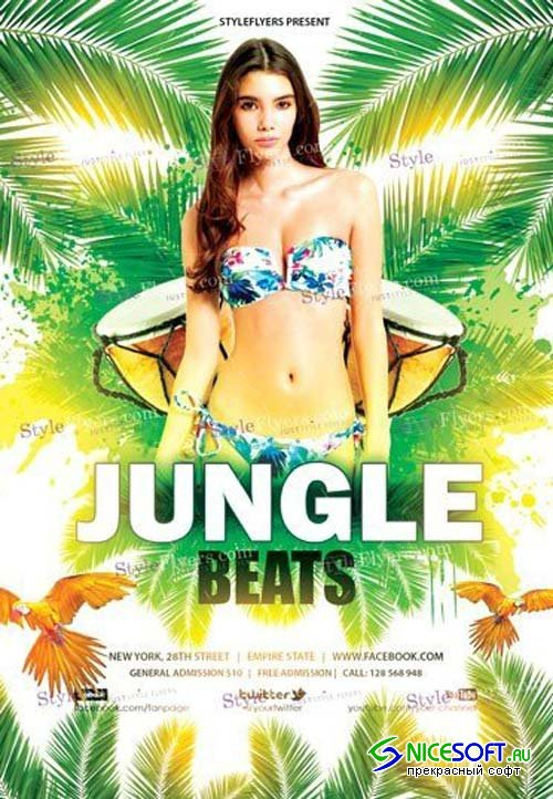 Jungle Beats V1 2018 PSD Flyer Template