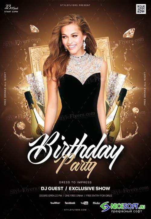 Birthday Party V1 2019 PSD Flyer Template
