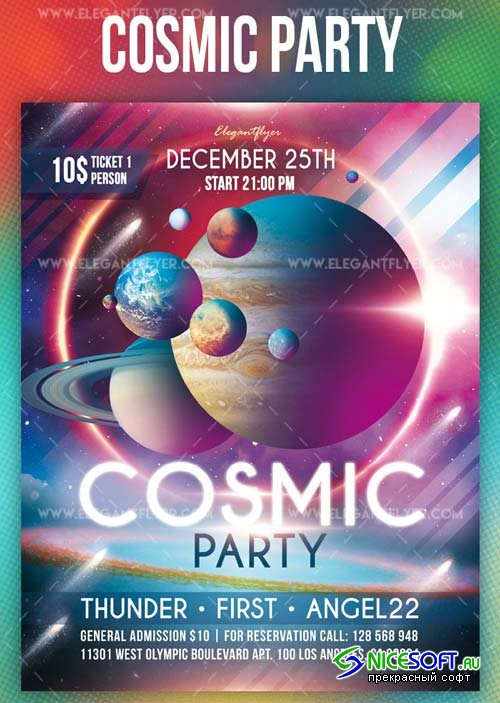 Cosmic Party V1 2019 PSD Flyer Template + Facebook Cover + Instagram Post