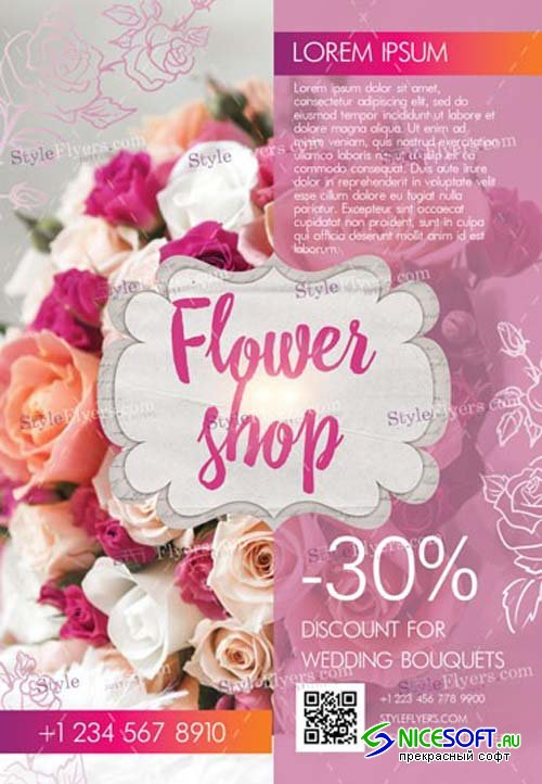 Flower Shop V1 2019 PSD Flyer Template