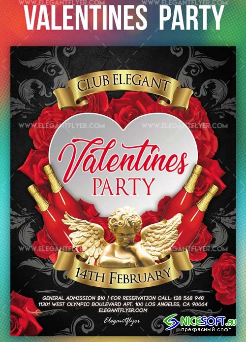 Valentines Party V14 2019 PSD Flyer Template + Facebook Cover + Instagram Post