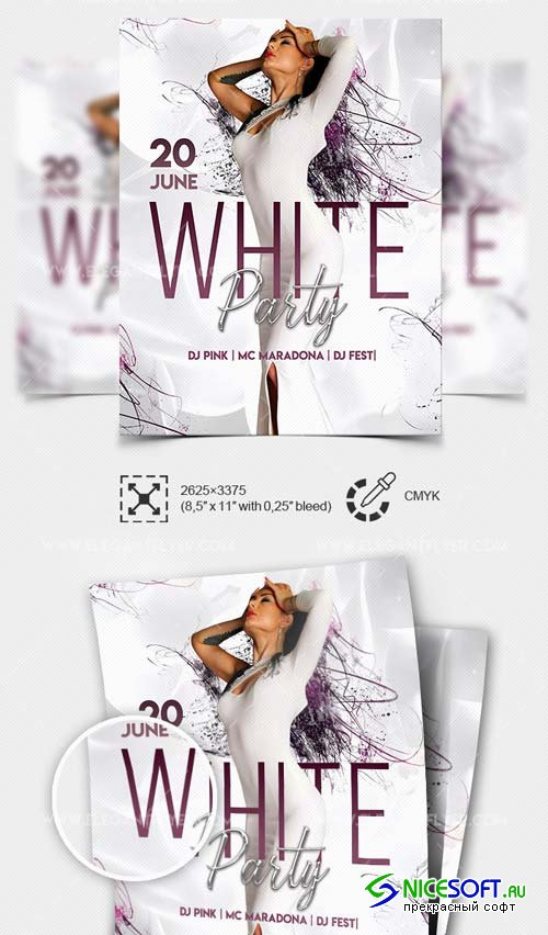 White Party V1 2019 PSD Flyer Template + Facebook Cover + Instagram Post