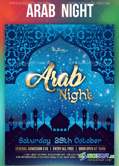 Arab Night V1 2019 PSD Flyer Template + Facebook Cover + Instagram Post