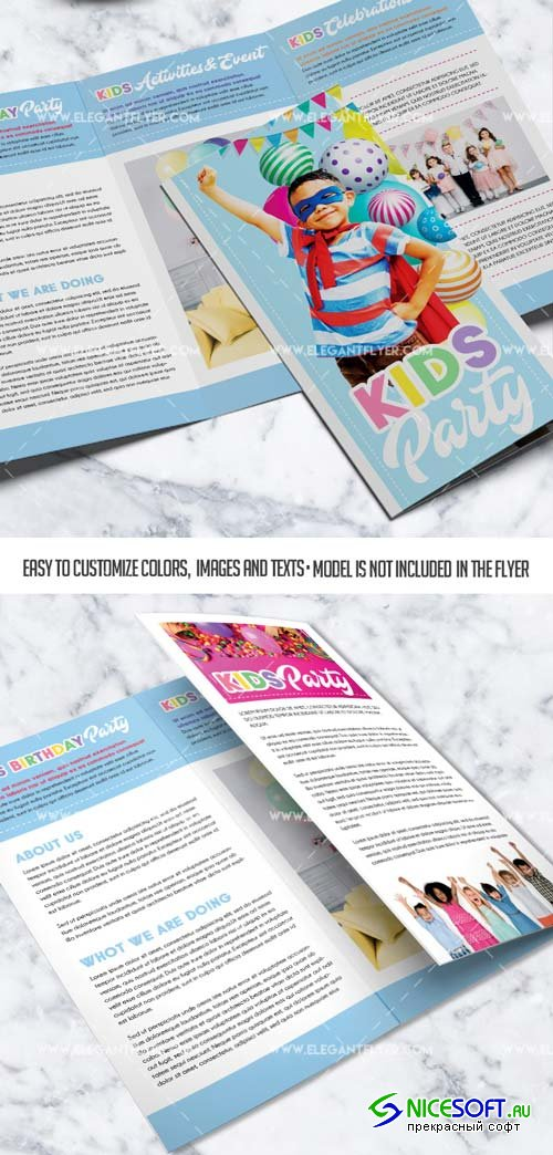 Kids Holiday Party V1 2019 PSD Tri-Fold Brochure Template