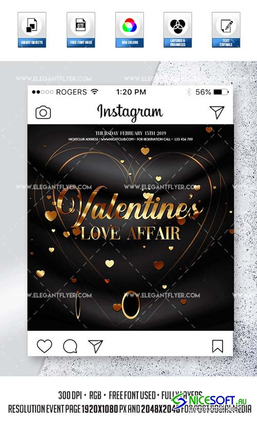 St. Valentine's Night Party V10 2019 Animated Instagram Stories + Instagram Post + Facebook Cover