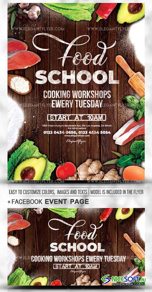 Food School V3 2019 PSD Flyer Template + Facebook Cover + Instagram Post