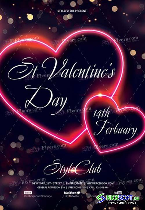 St Valentine's Day V21 2019 PSD Flyer Template