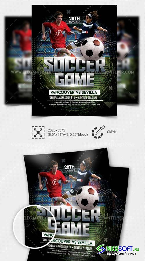 Soccer Game V3 2019 PSD Flyer Template + Facebook Cover + Instagram Post