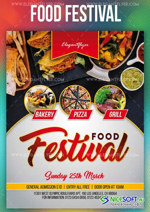 Food Festival V3 2019 PSD Flyer Template + Facebook Cover + Instagram Post