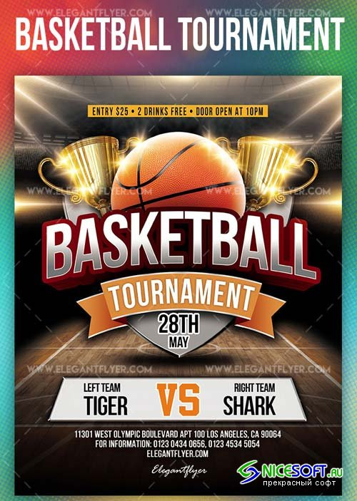 Basketball Tournament V3 2019 PSD Flyer Template + Facebook Cover + Instagram Post