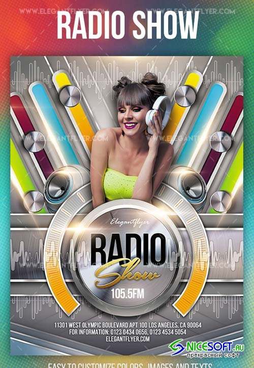 Radio Show V1 2019 Flyer PSD Template + Facebook Cover + Instagram Post