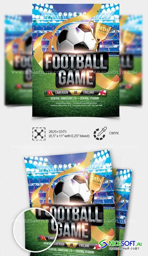 Football Game V4 2019 PSD Flyer Template + Facebook Cover + Instagram Post