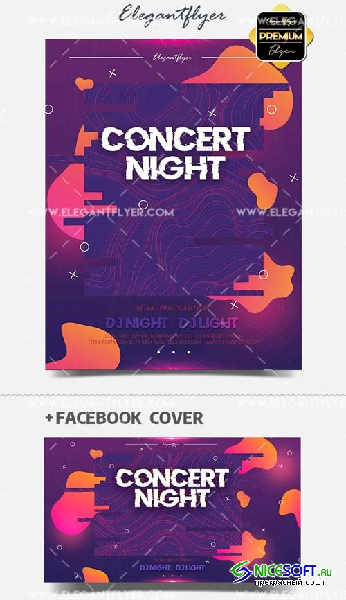 Concert Night V2 2019 PSD Flyer Template + Facebook Cover + Instagram Post