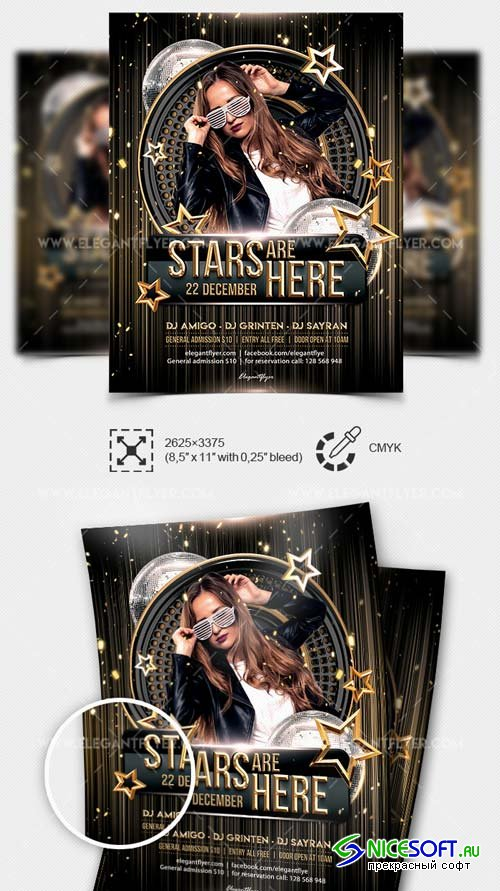 Stars are Here V1 2019 PSD Flyer Template + Facebook Cover + Instagram Post
