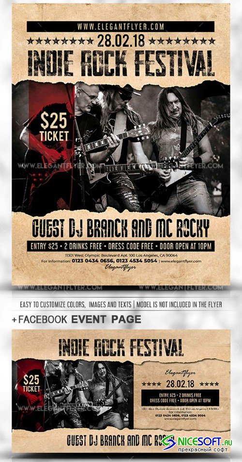 Indie Rock Festival 2019 Flyer PSD V1 Template + Facebook Cover + Instagram Post