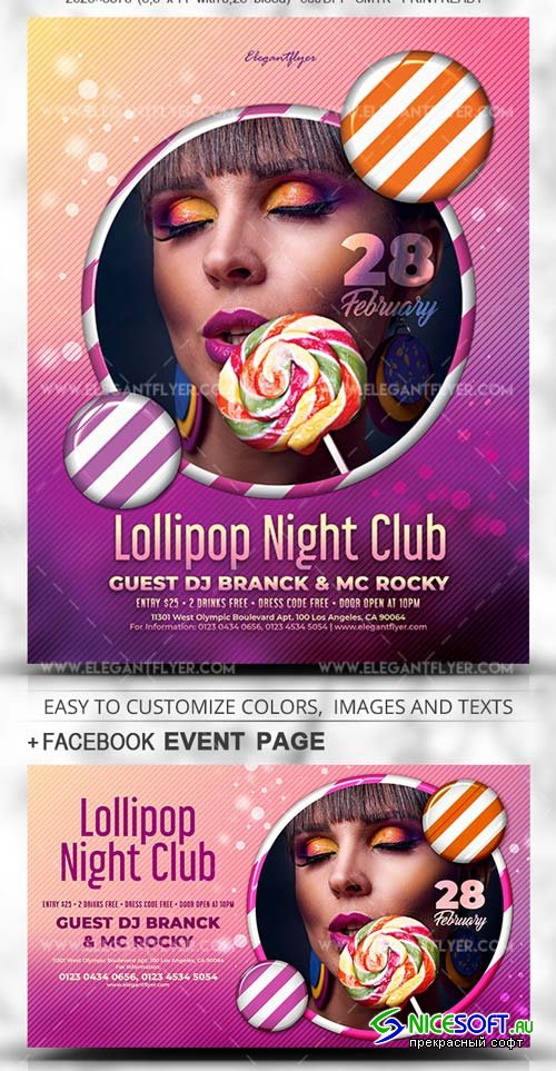 Lollipop Night Club V1 2019 Flyer PSD Template + Facebook Cover + Instagram Post