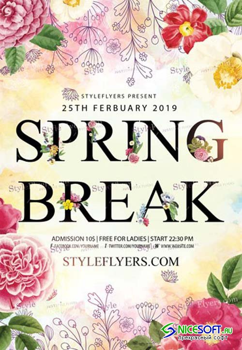 Spring Break V2 2019 PSD Flyer Template
