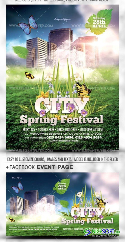 City Spring Festival V1 2019 PSD Flyer Template + Facebook Cover + Instagram Post