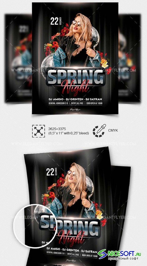 Spring Night V5 2019 PSD Flyer Template + Facebook Cover + Instagram Post