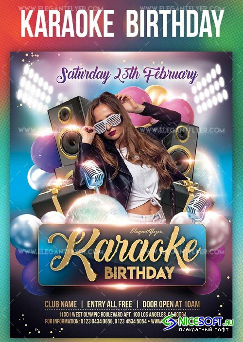 Karaoke Birthday V8 2019 PSD Flyer Template + Facebook Cover + Instagram Post
