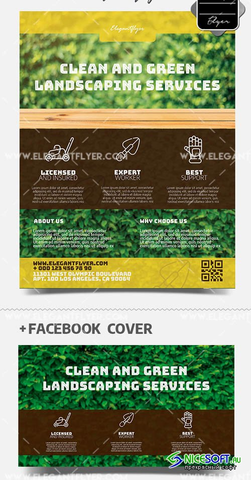 Gardener V1 2019 PSD Flyer Template + Facebook Cover + Instagram Post