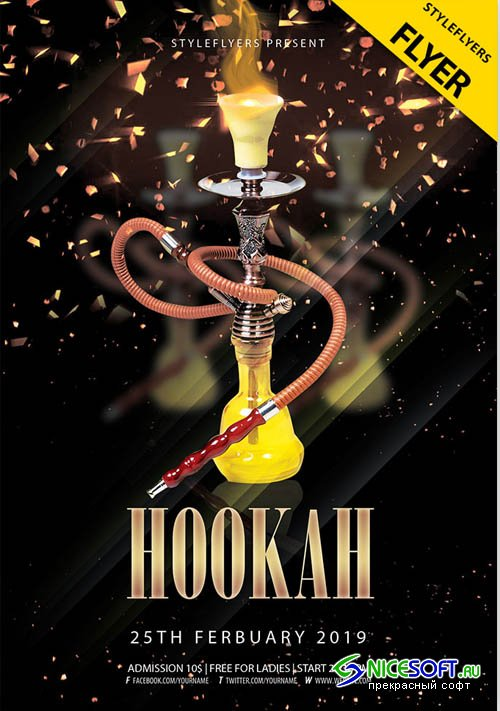Hookah Night V9 2019 PSD Flyer Template