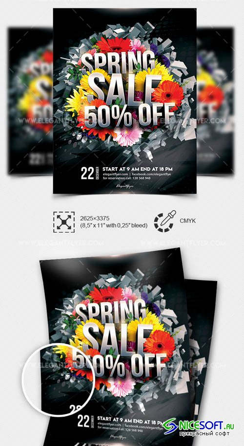 Spring Sale V5 2019 Flyer PSD Template + Facebook Cover + Instagram Post