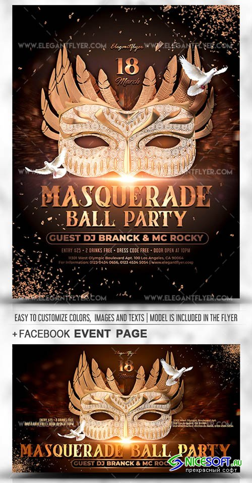 Masquerade Ball Party V1 2019 PSD Flyer Template + Facebook Cover + Instagram Post