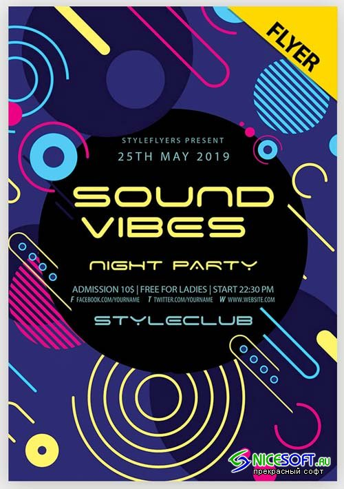 Sound Vibes Night Party V1 2019 PSD Flyer Template