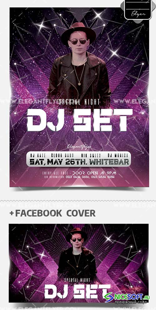 DJ Set Event V1 2019 PSD Flyer Template + Facebook Cover + Instagram Post