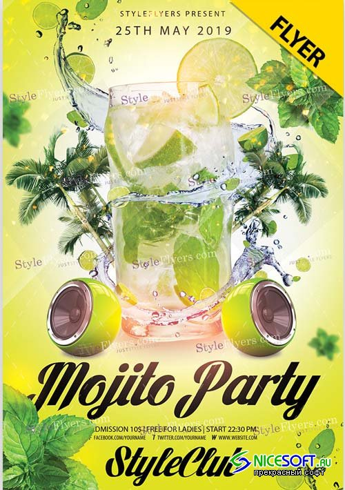 Mojito Party V9 2019 PSD Flyer Template