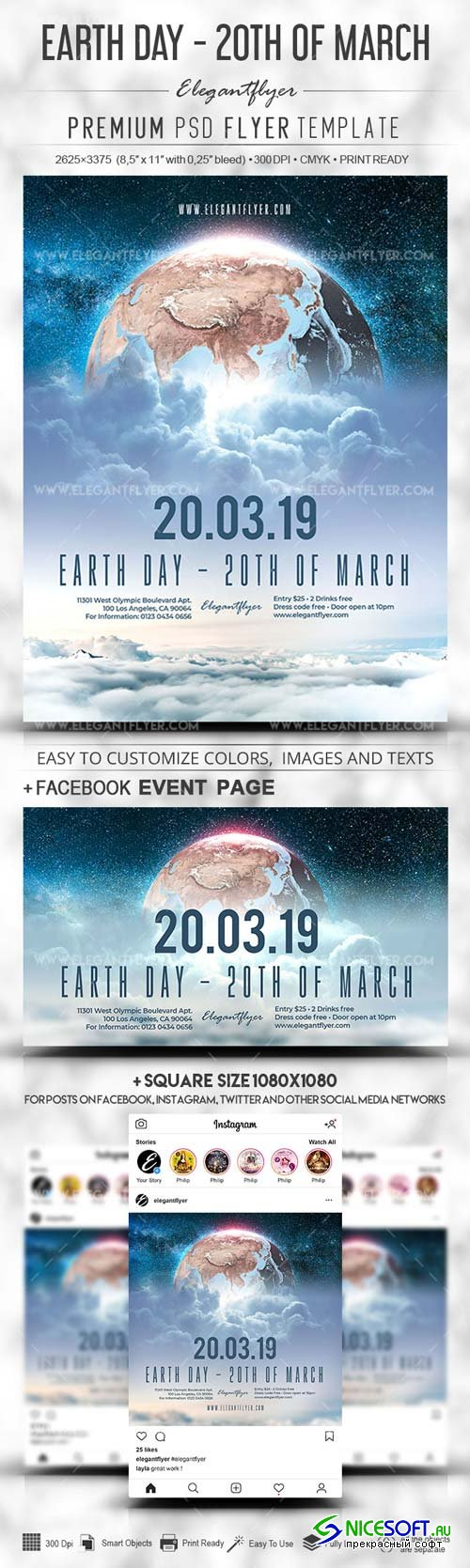 Earth Day V1 2019 20th of March PSD Flyer Template + Facebook Cover + Instagram Post