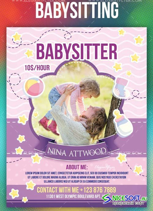 Babysitting V1 2019 PSD Flyer Template + Facebook Cover + Instagram Post