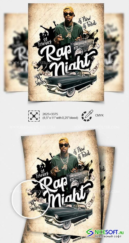 Rap Night V1 2019 PSD Flyer Template + Facebook Cover + Instagram Post