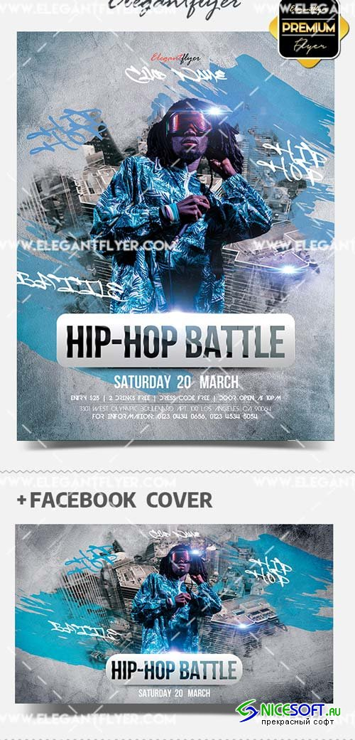 Hip Hop Battle V1 2019 Flyer PSD Template + Facebook Cover + Instagram Post