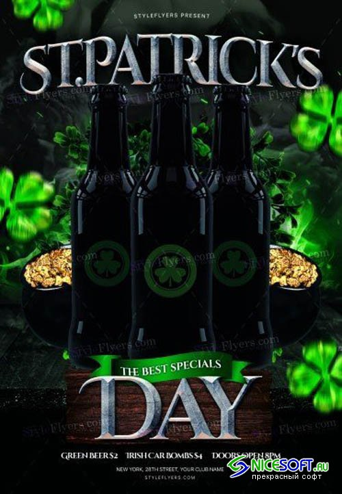 St Patricks Day V11 2019 PSD Flyer Template