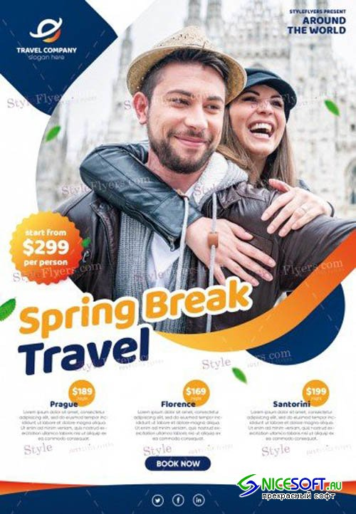 Spring Break Travel V1 2019 PSD Flyer Template