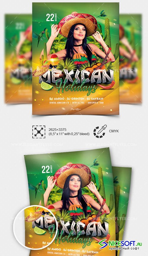 Mexican Holidays V01 2019 Flyer PSD Template + Facebook Cover + Instagram Post