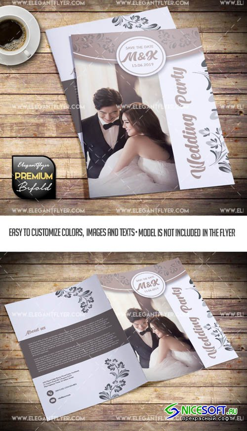 Wedding Party V5 2019 PSD Bi-Fold Brochure Template