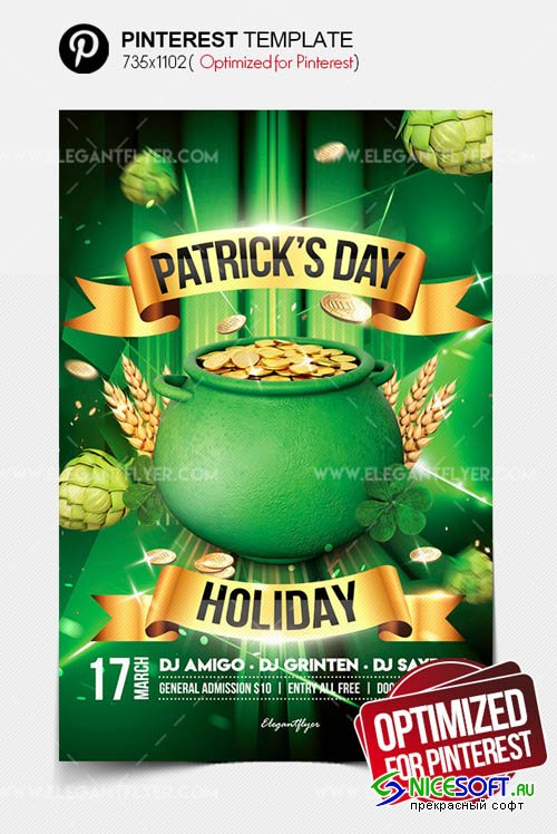St. Patricks Day Holiday V17 2019 Pinterest PSD Template