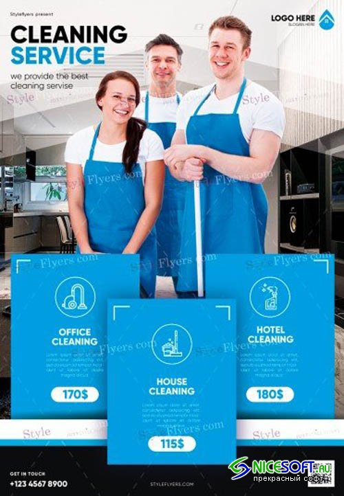Cleaning Service V3 2019 PSD Flyer Template