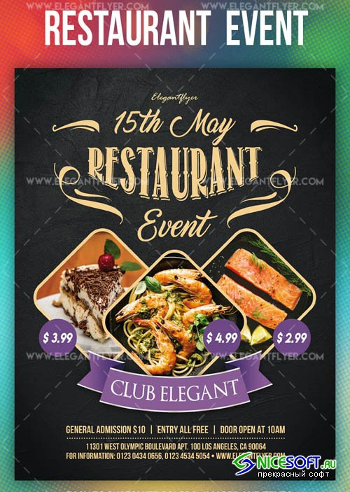 Restaurant Event V7 2019 PSD Flyer Template + Facebook Cover + Instagram Post
