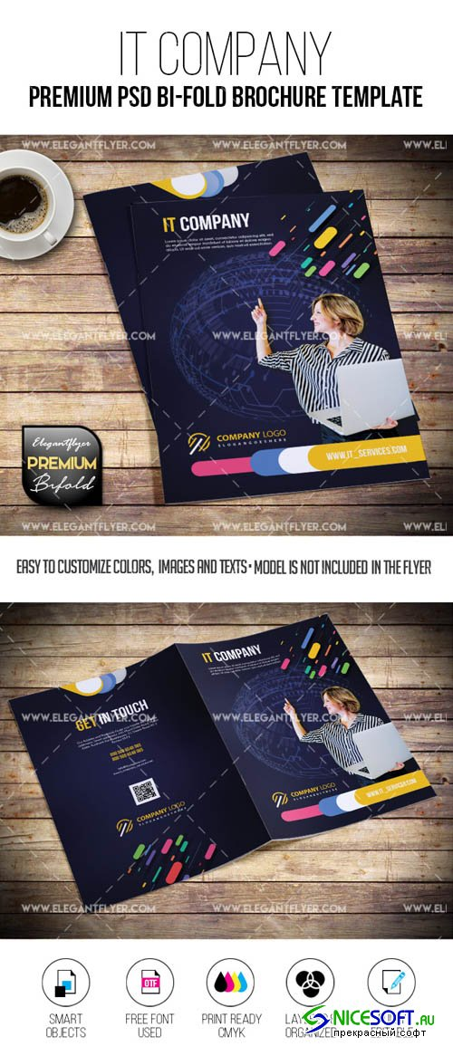 IT Company V1 2019 PSD Bi-Fold Brochure Template